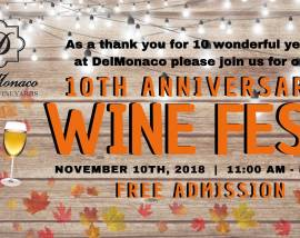 10th Anniversary Wine Festival Celebration-November 10, 2018