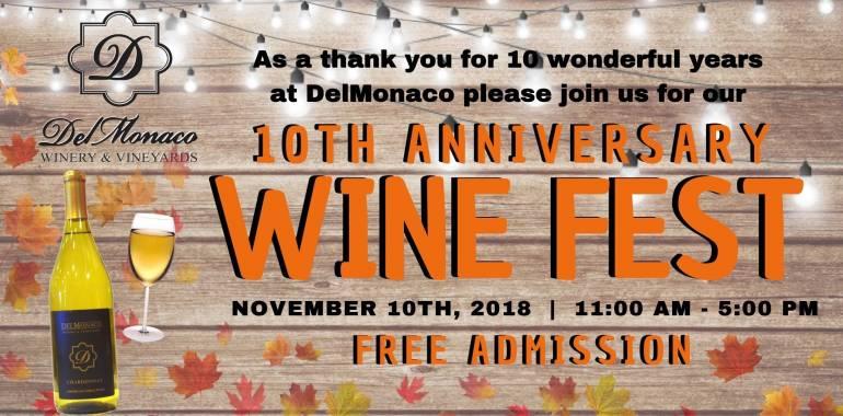 10th Anniversary Wine Festival Celebration-November 10, 2018