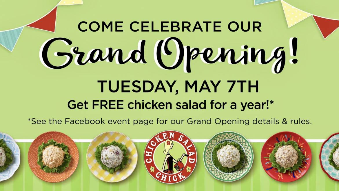 Chicken Salad Chick Grand Opening May 7-11-,2019-Cookeville, TN