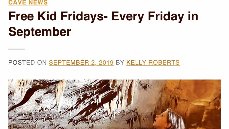 Free Kid Friday at Cumberland Caverns through September