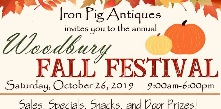 The Iron Pig Antiques invites you to the Woodbury Fall Festival-October 26, 2019